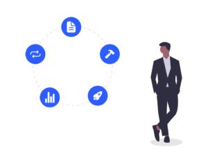 Illustration Mann neben einem Kreis von Produktsymbolen