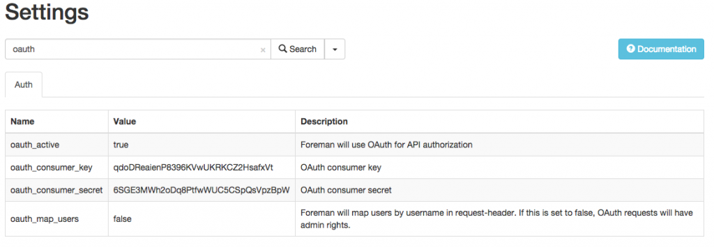 OAuth Settings