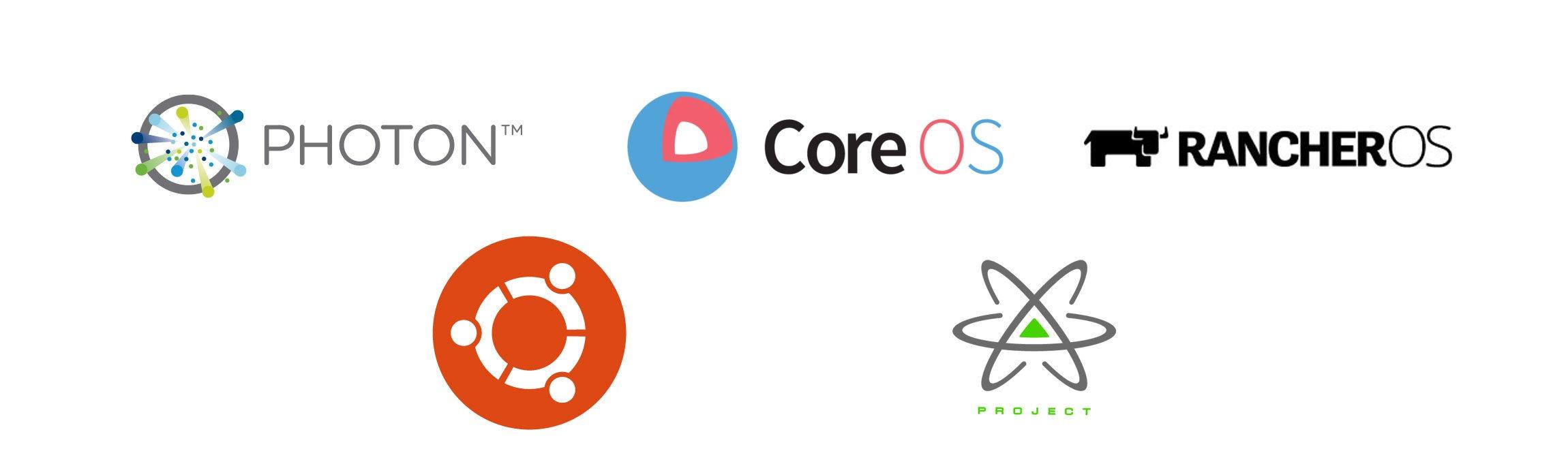 Docker-OS-Vergleich Logos
