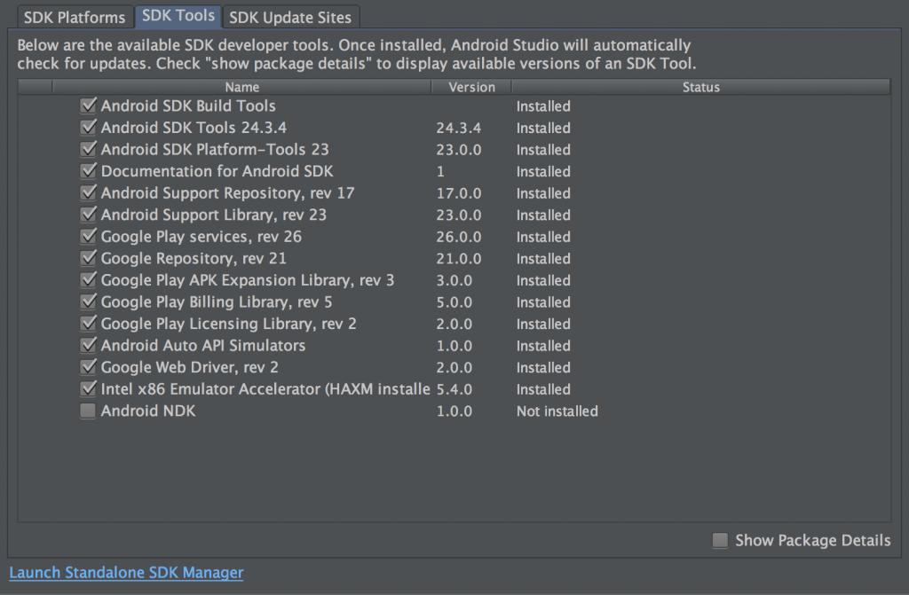Der SDK-Manager in Android Studion 1.3