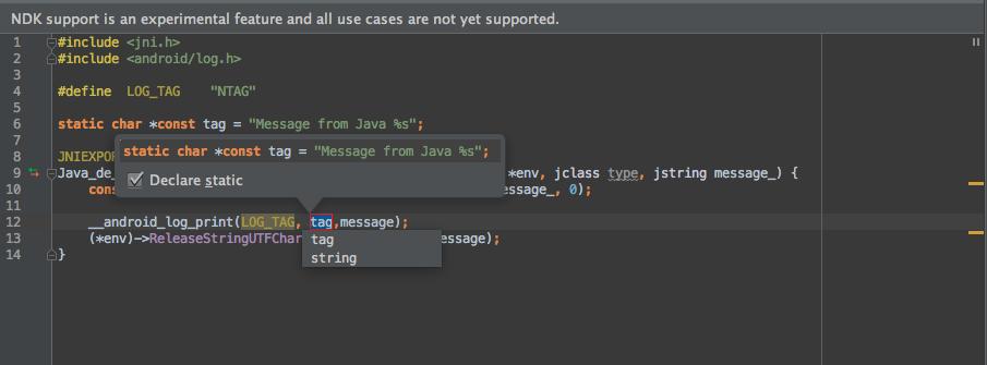 Der C/C++ Editor in Android Studio 1.3