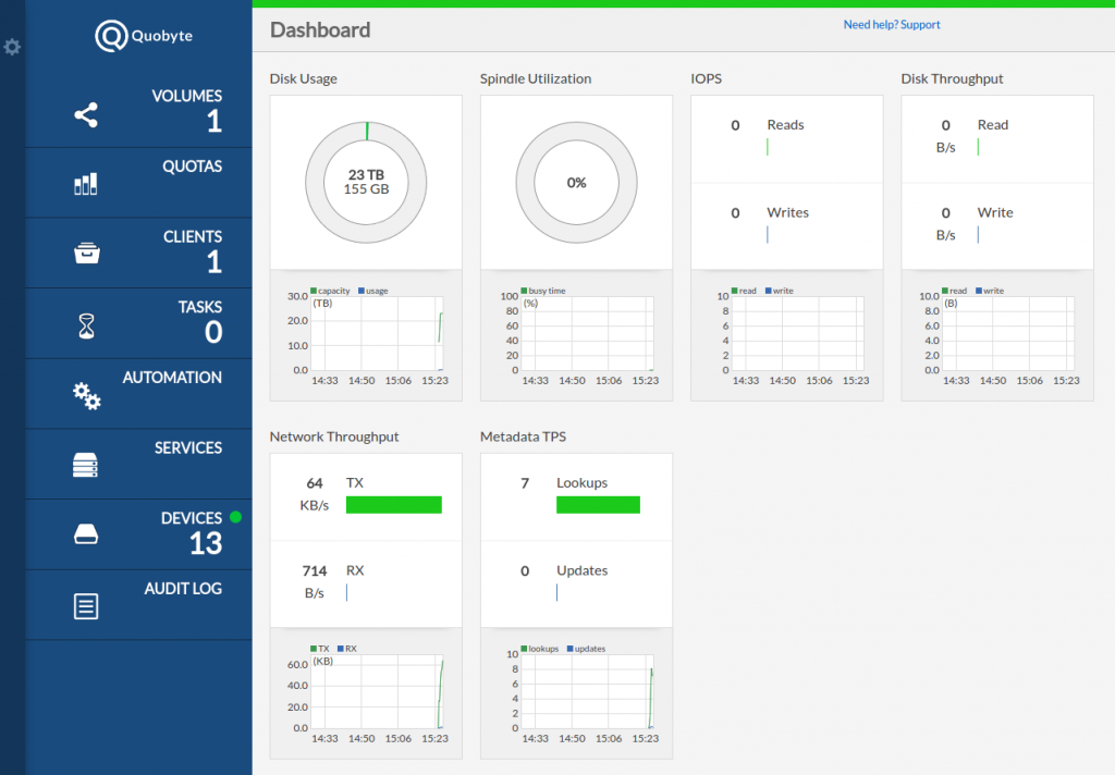 Quobyte web interface