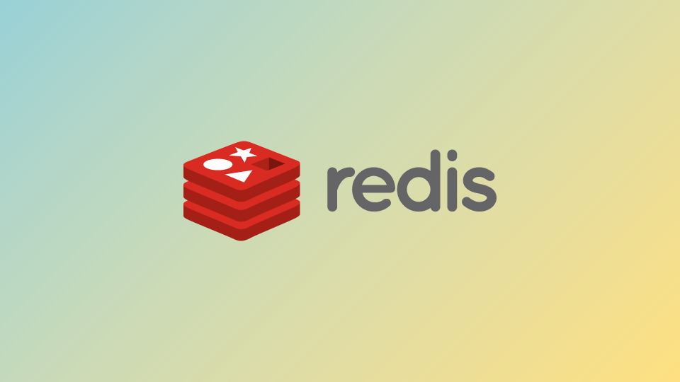 The redis logo on a gradient
