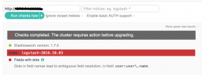 Elasticsearch Migration Plugin shows that an upgrade isn't possible yet.