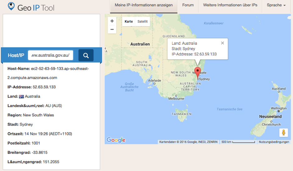 A Screenshot showing the geo-information for www.australia.gov.au