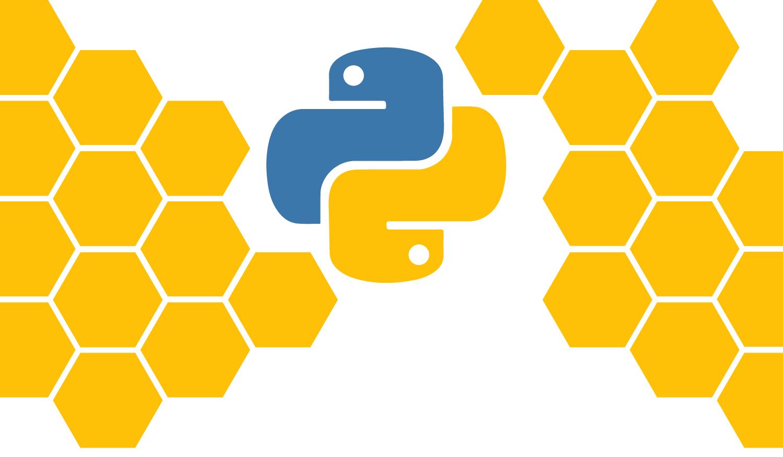 Hexagons surround the Python logo