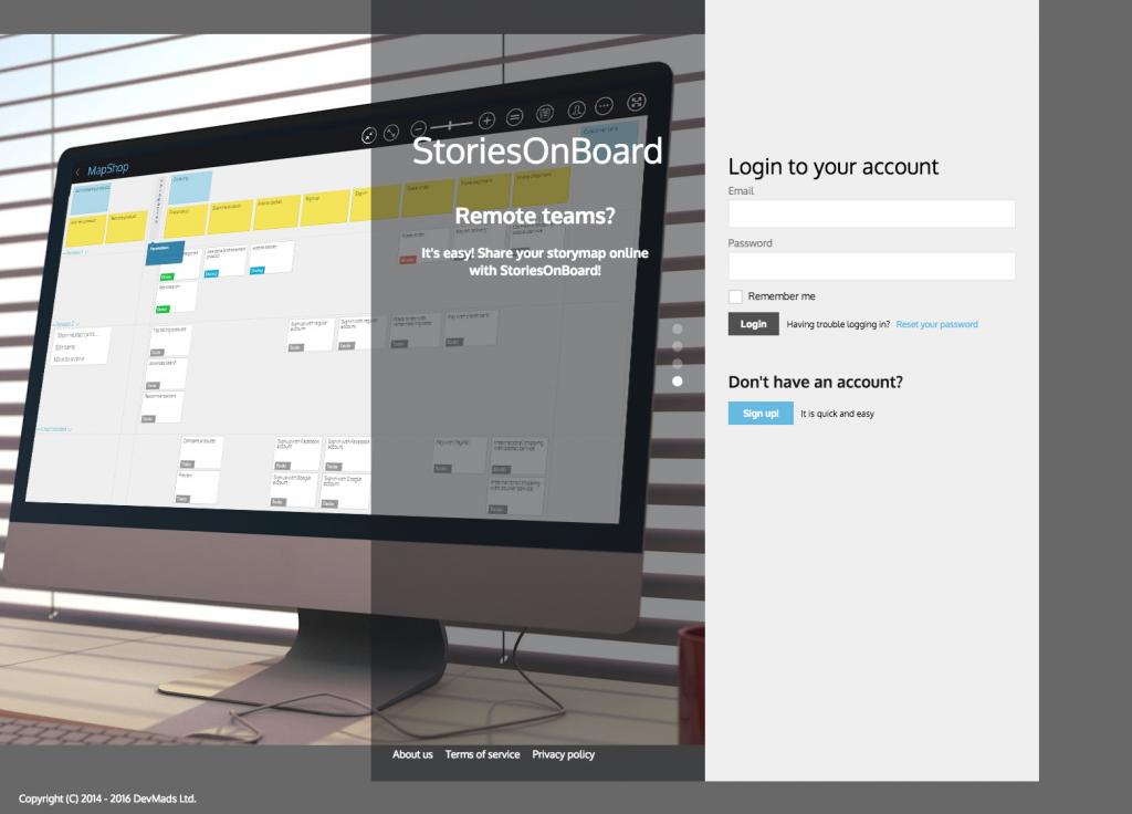 Screenshot der Login-Seite von Stories on board