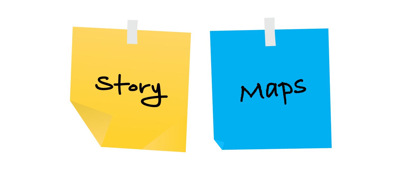 Zwei Post-its mit Aufschrift Story Maps