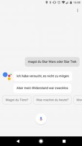 Inzwischen witzelt der Assistant auch auf Deutsch