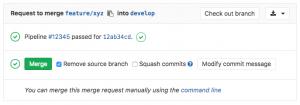 Abbildung eines Merge Request für Feature im GitLab Web Frontend
