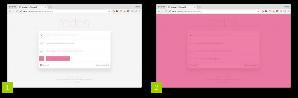 Abbildung: Testabdeckungen: [1] DOM-basierte UI-Test, [2] visueller Regressionstest