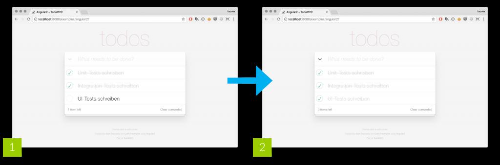 """Abbildung: Testszenario für die """"Abhaken""""-Funktion; [1] initialer Zustand der AUT, [2] zu testender Status der AUT"""