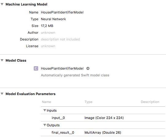 Importing the Core ML model into Xcode.