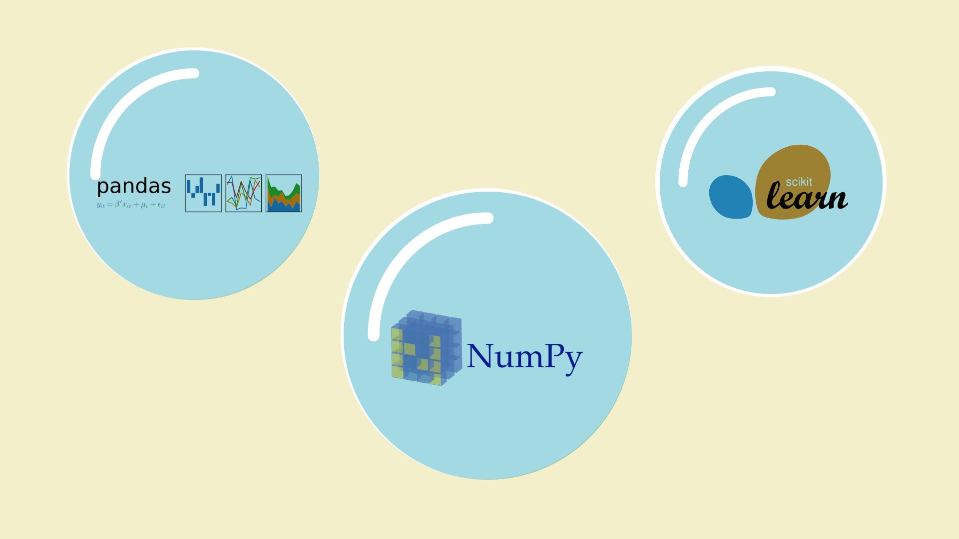 Three Bubbles holding the logos of pandas, scikit and NumPy