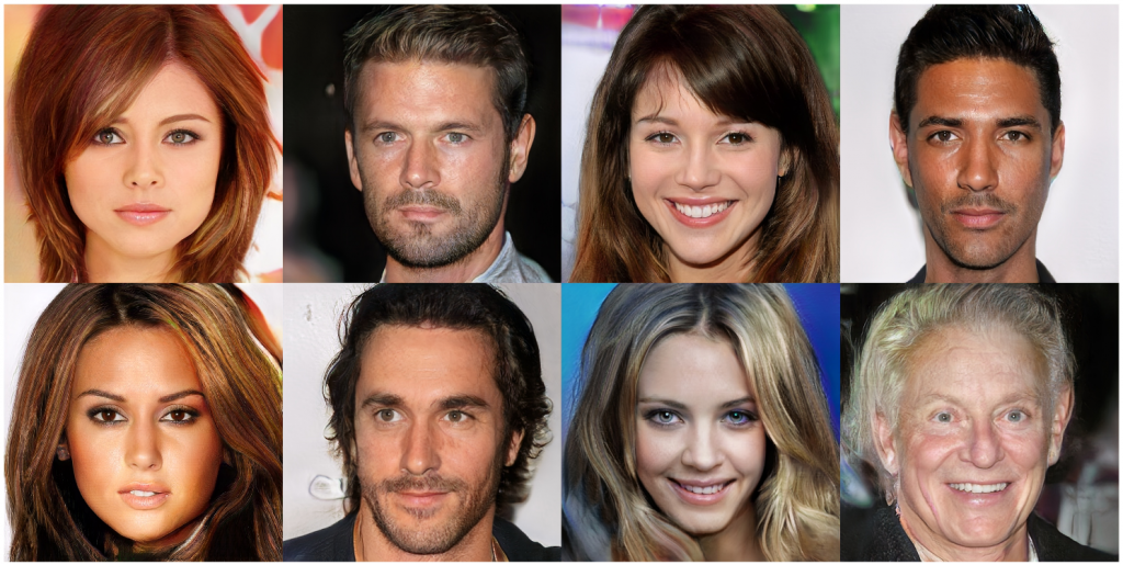 Celebrity faces produced by Generative Adversarial Networks