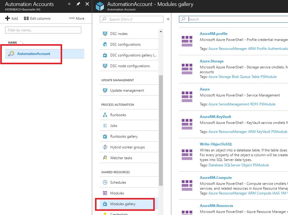 Azure Automation Accounts Screenshot