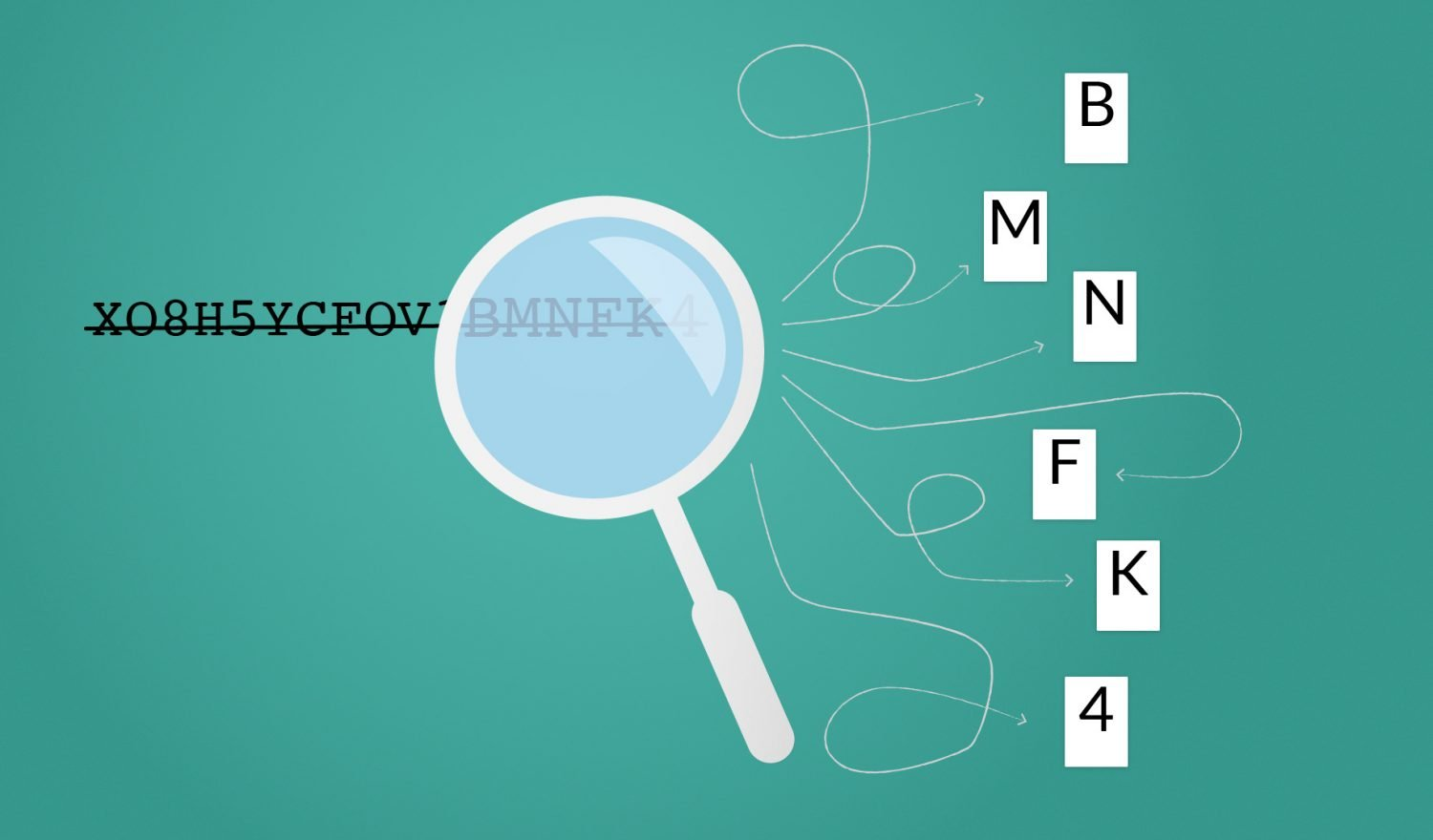 A magnifying glass recognizing letters