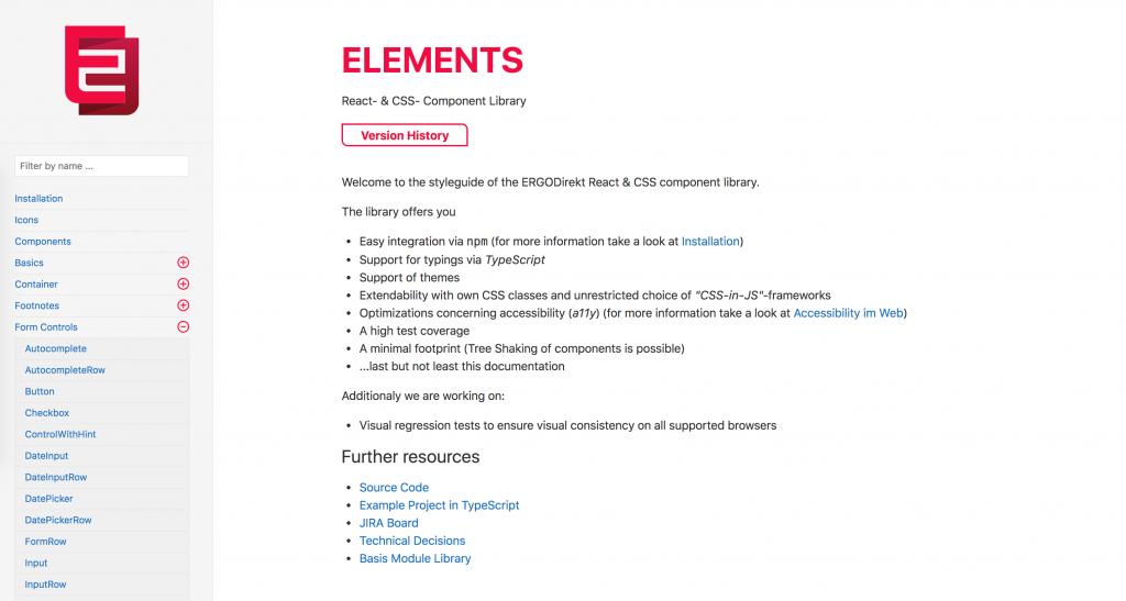 Komponentenbibliothek für Elemente von ERGO