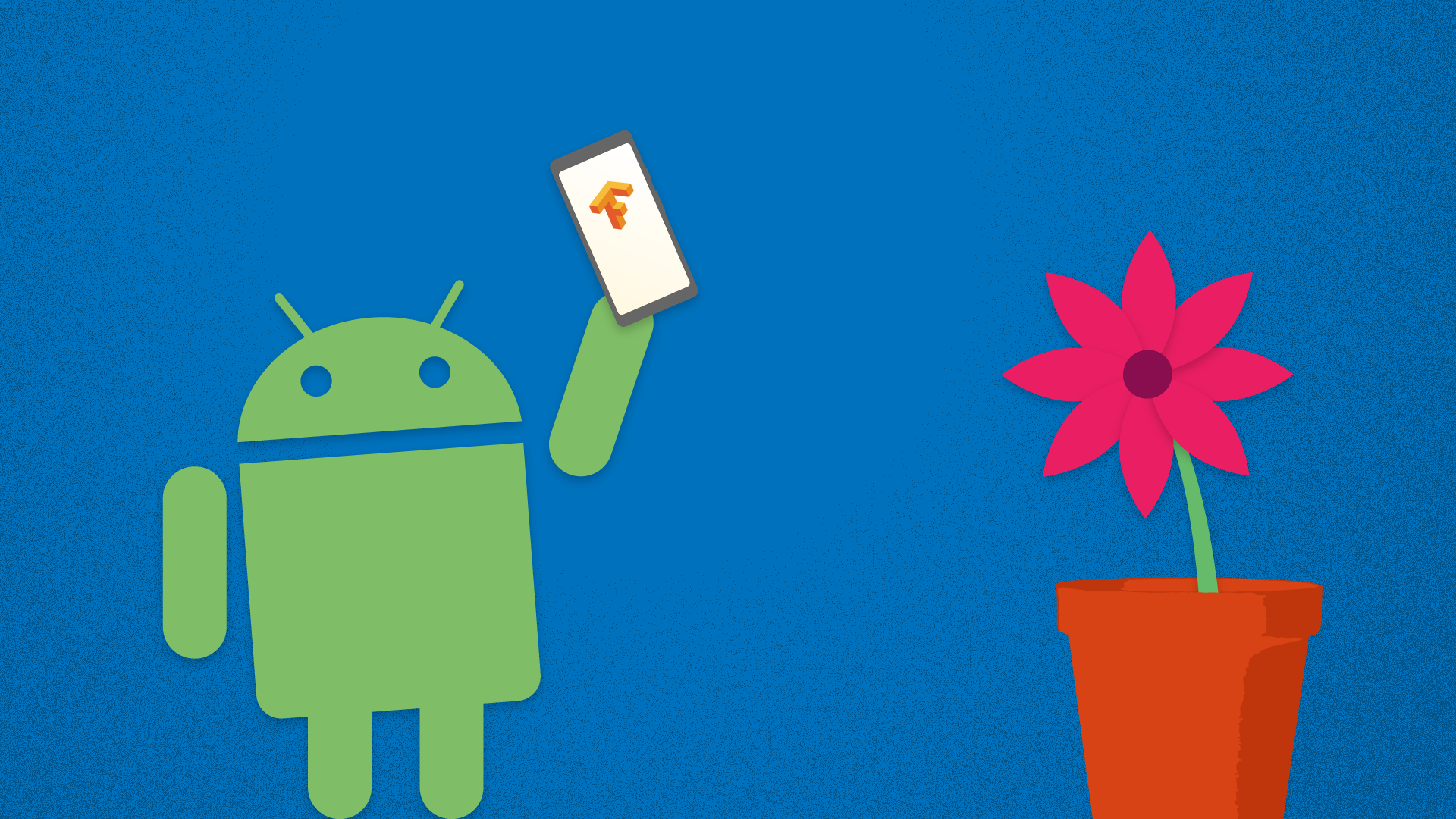 An android pointing a smartphone at a plant