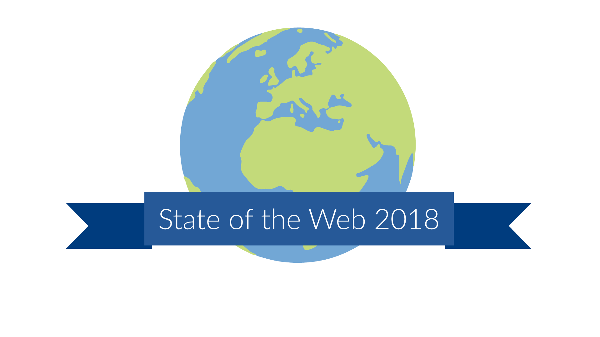 A globe with a banner saying state of the web