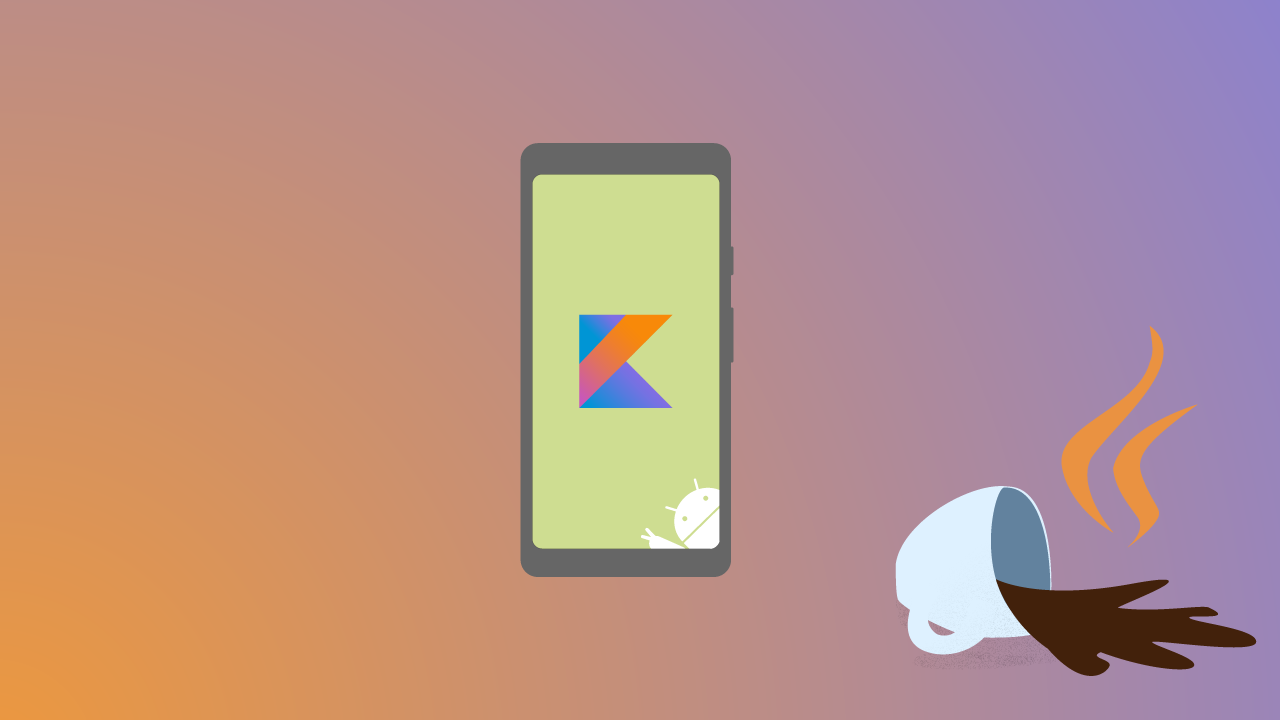 A phone with the Kotlin logo on screen tipps over the java cup