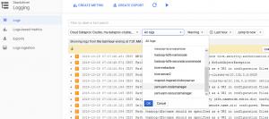 Cloud Console Stackdriver Logging UI