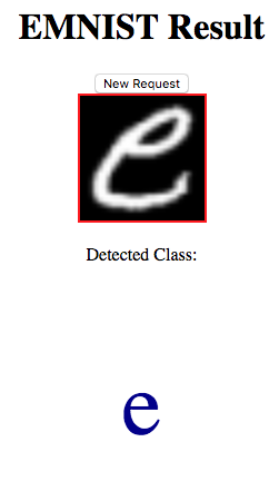 Flask webservice correctly identifying a handwritten e