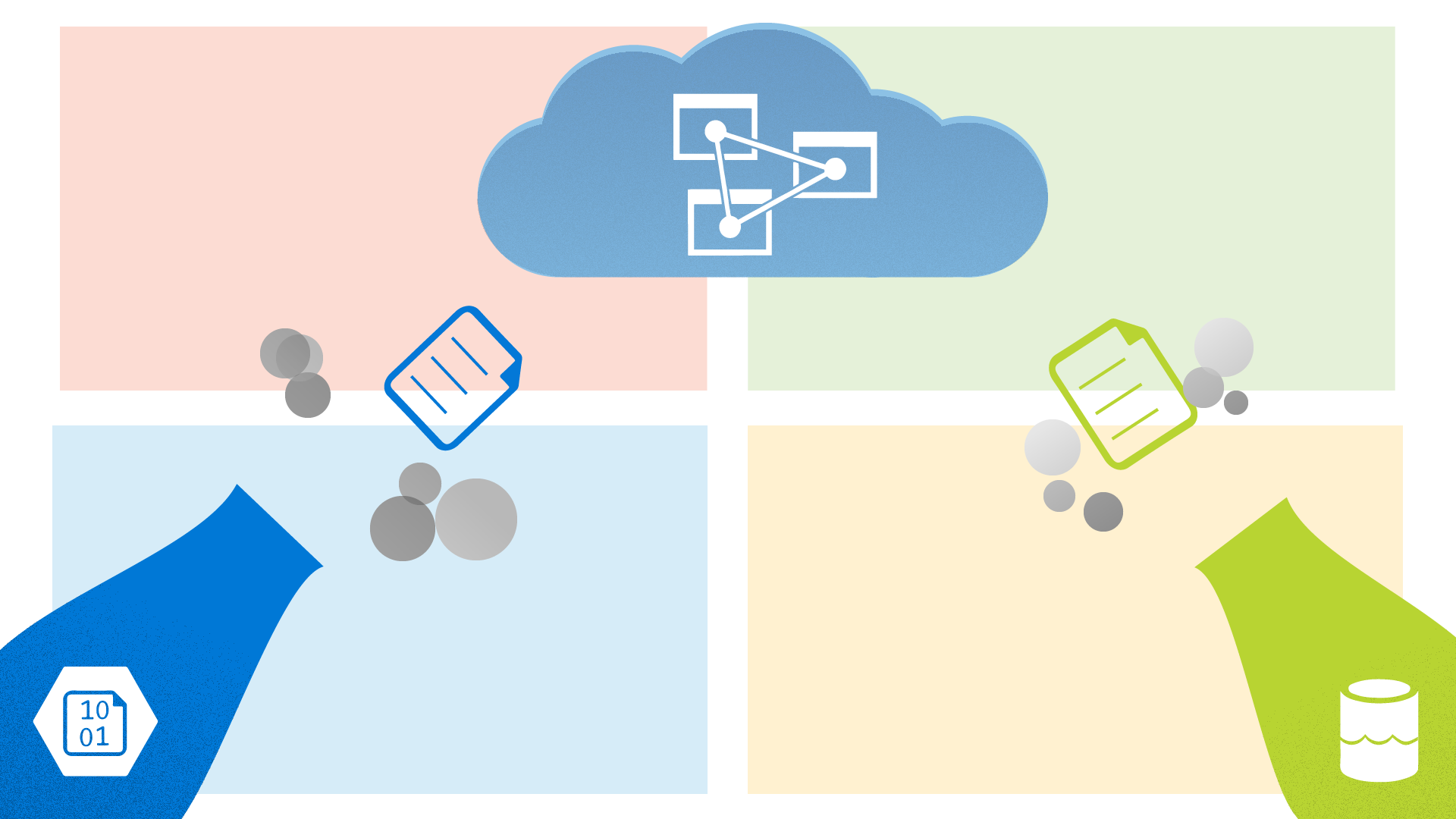 Two comical canons with the logos of azure data lake and azure blob storage firing files at a cloud with the logo of azure cloud services