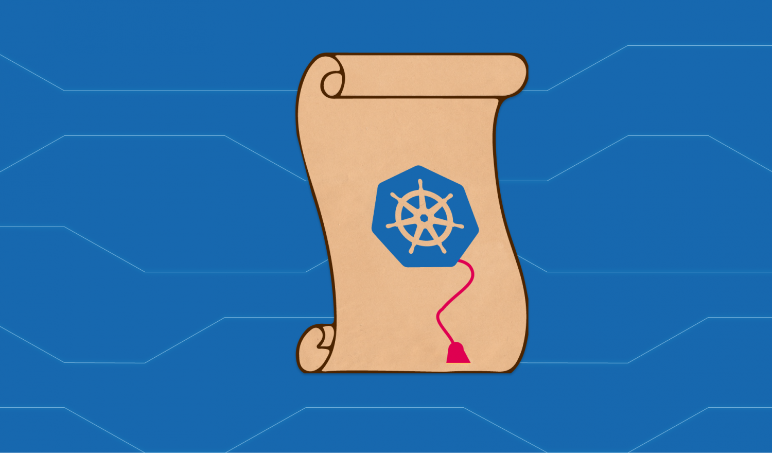 An old-timey scroll on a cyber background representing Kubernetes Network Policies
