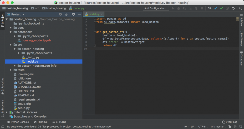 Boston-Housing project view in PyCharm