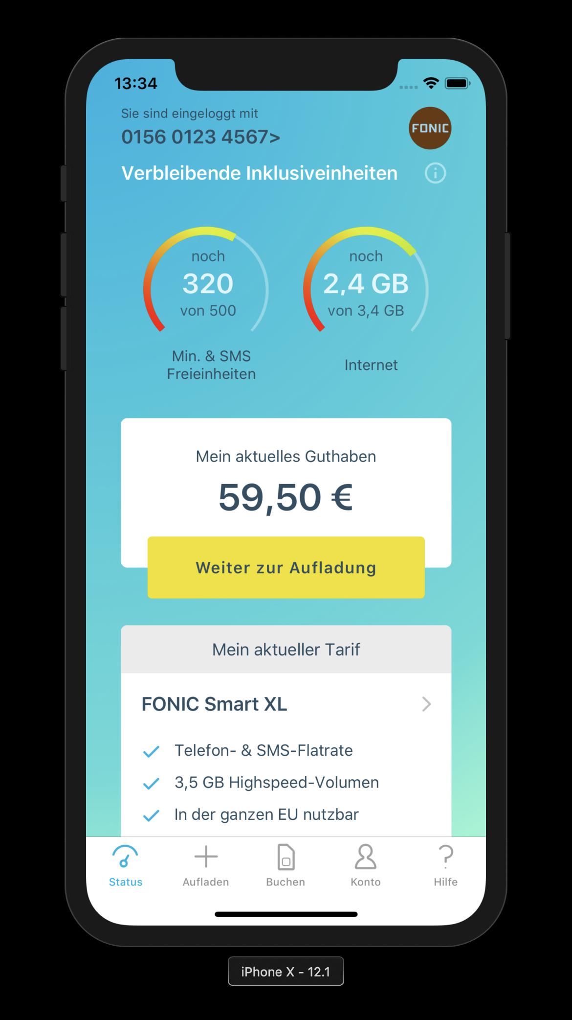 Ein iPhone X mit geöffneter Fonic-App, die die verbleibenden Inklusiveinheiten anzeigt