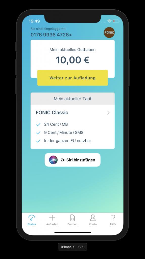 Guthabenanzeige in der Fonic-App mit Button für den Siri Shortcut