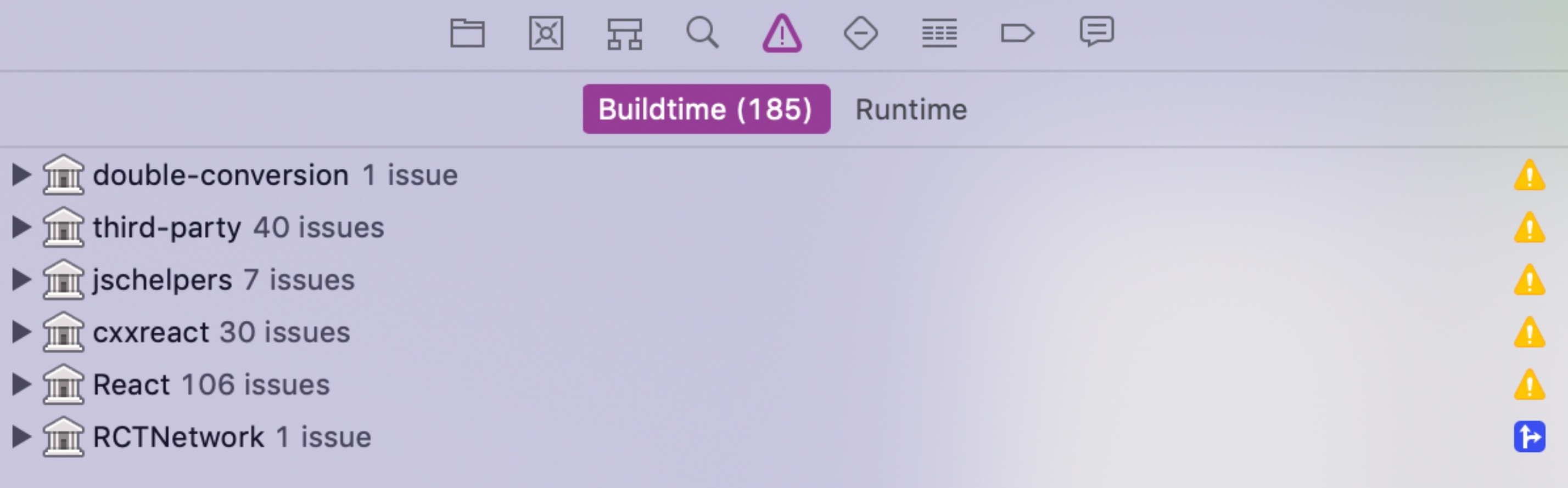 Xcode screenshot when executing a newly generated CLI React Native project