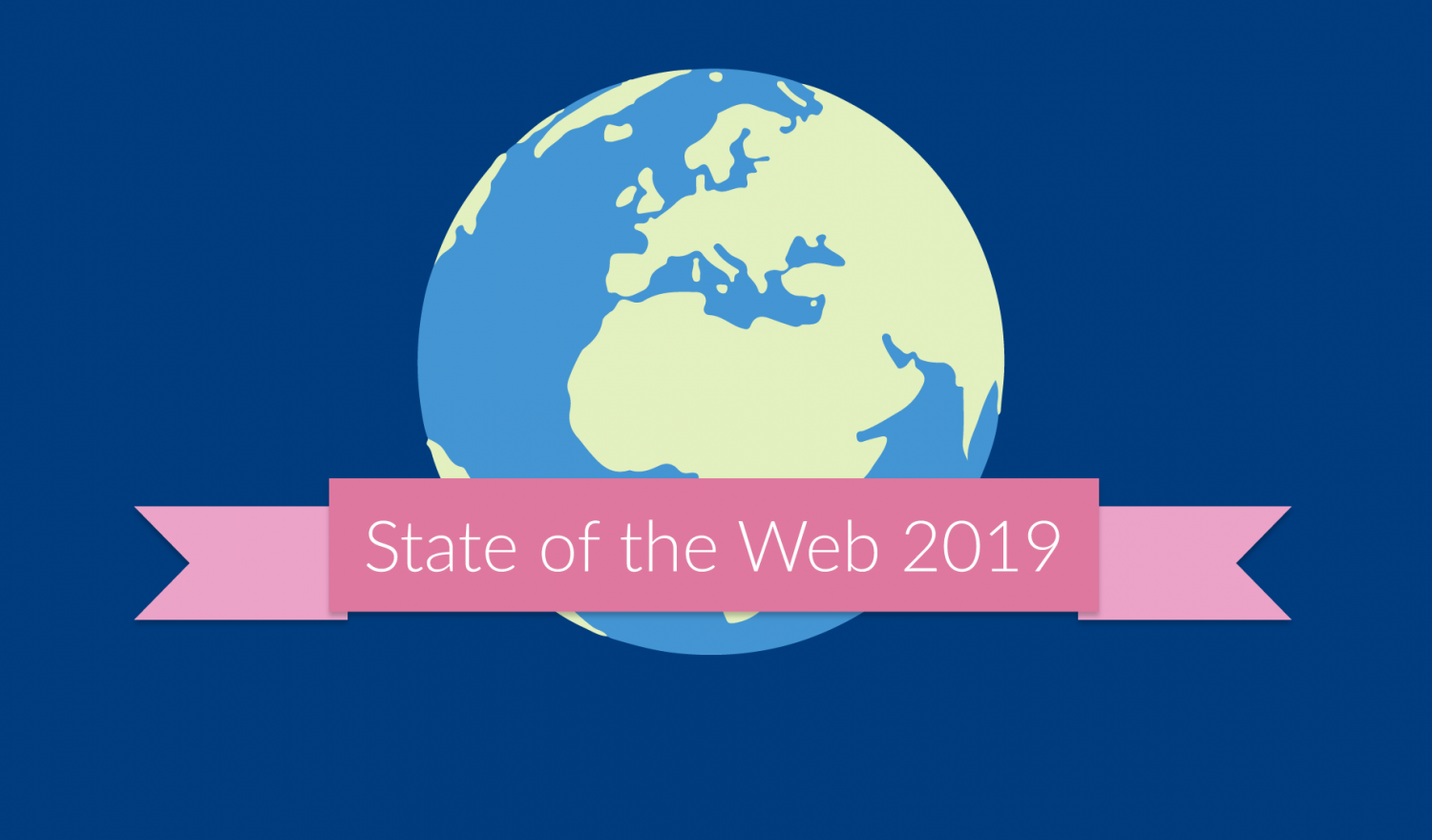 State of the Web on a pink ribbon in front of the globe