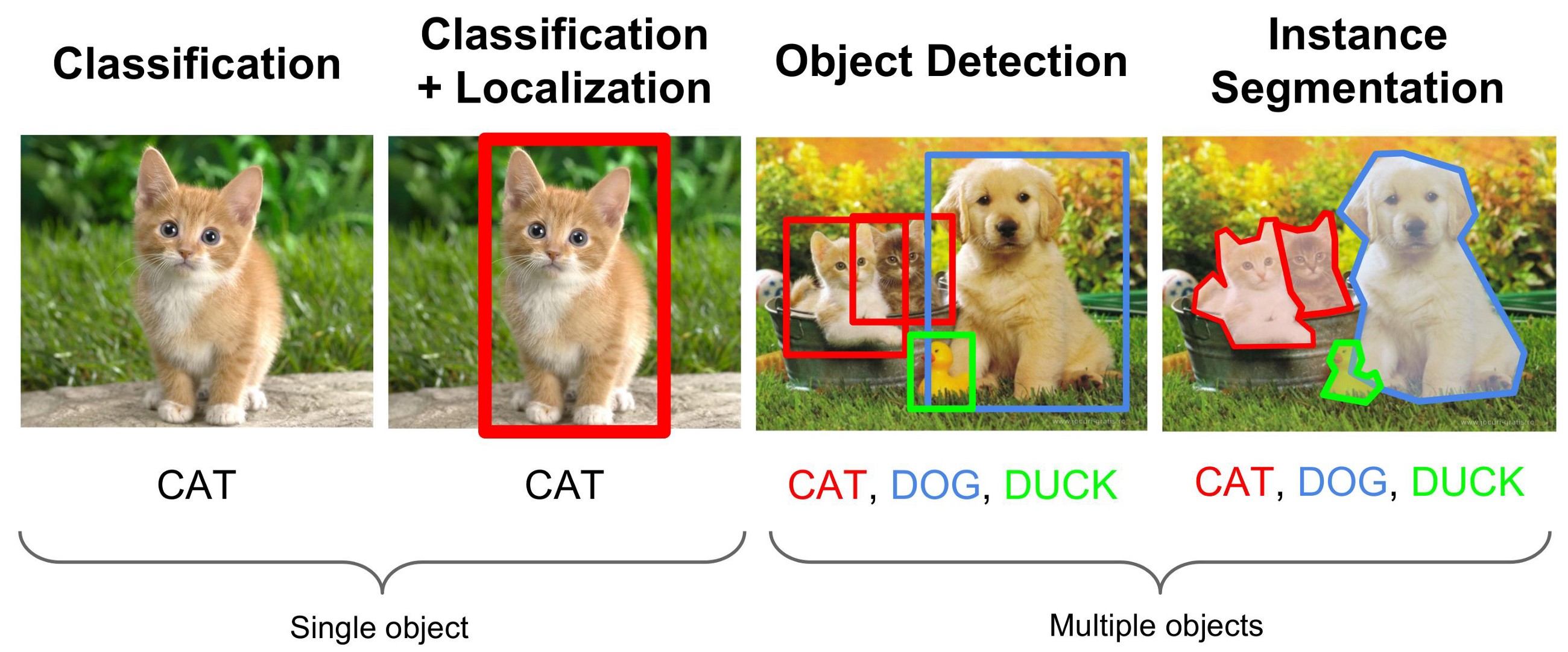 Calssification, localization, object detection and instance segmentation of one and multiple objects exemplified
