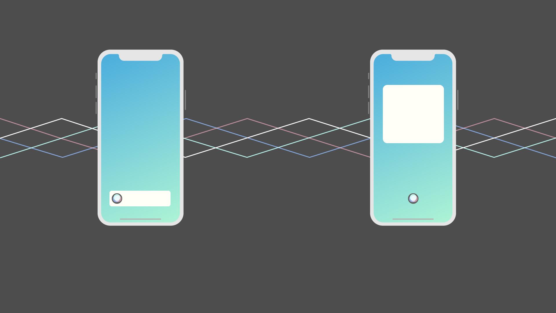 Zwei iPhones auf denen der Siri-Button stilisiert gezeigt wird