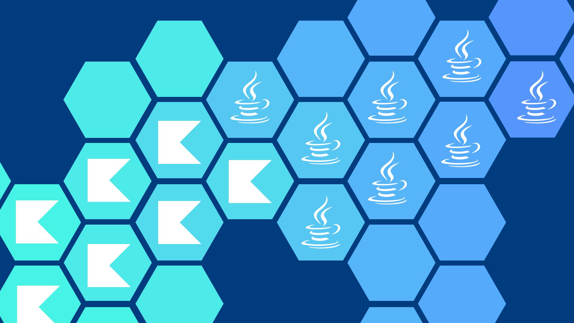Ein Netz aus Hexagonen mit den Logos von Kotlin vs. Java in Türkistönen