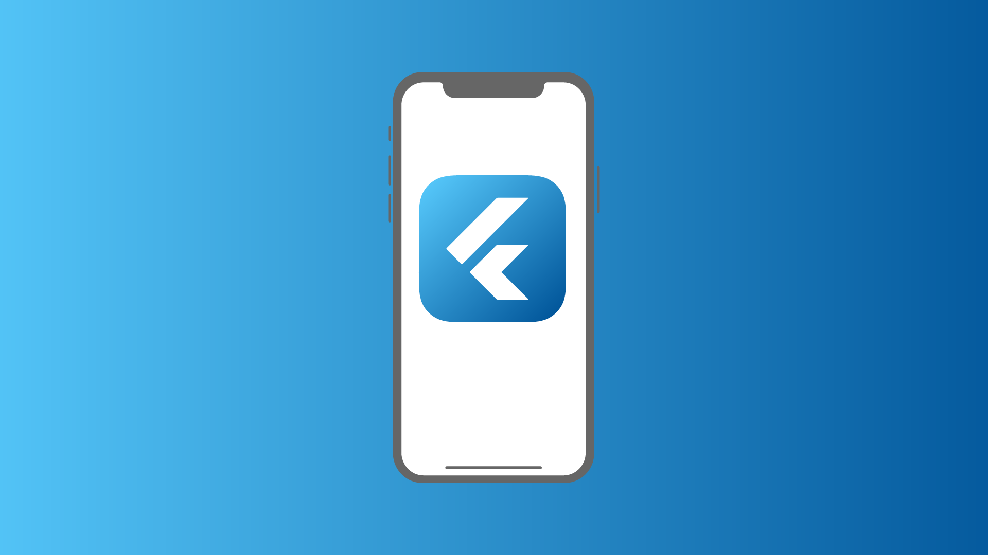An iPhone X with a Flutter app icon