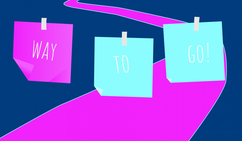 Post-its vor einem weg symbolisieren agile Selstorganisation