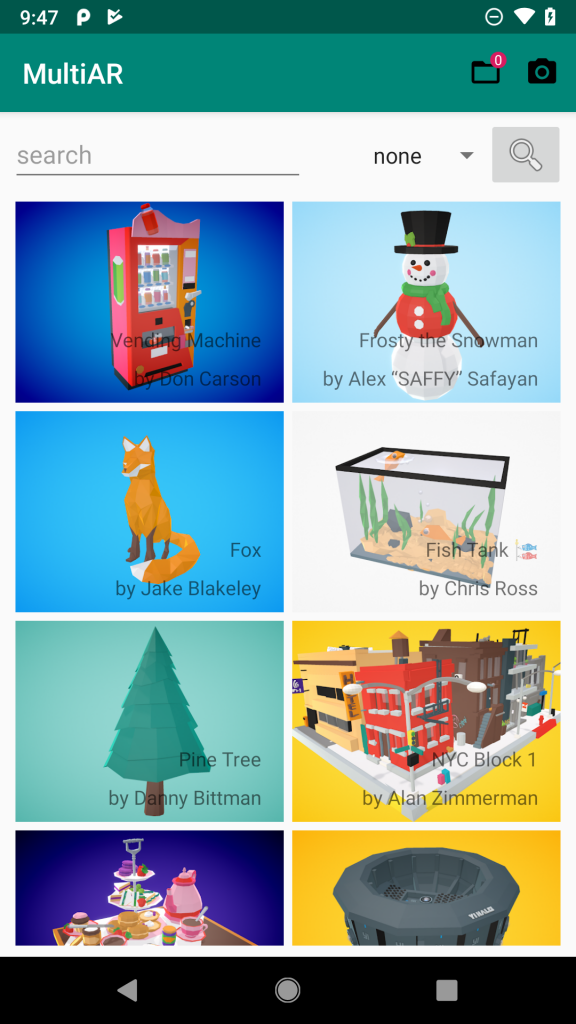 Eine zweispaltige Liste von 3D-Modellen: Vending Machine, Schneemann, Fuchs, ...