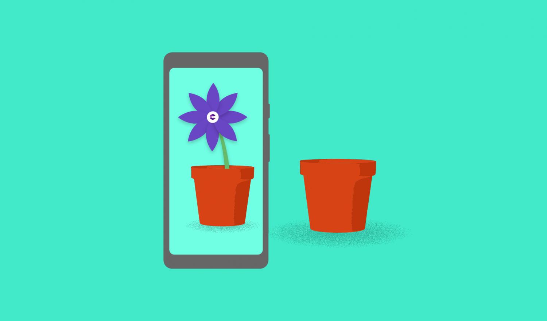 Ein Smartphone projiziert eine ARcore Blume in einen Blumentopf