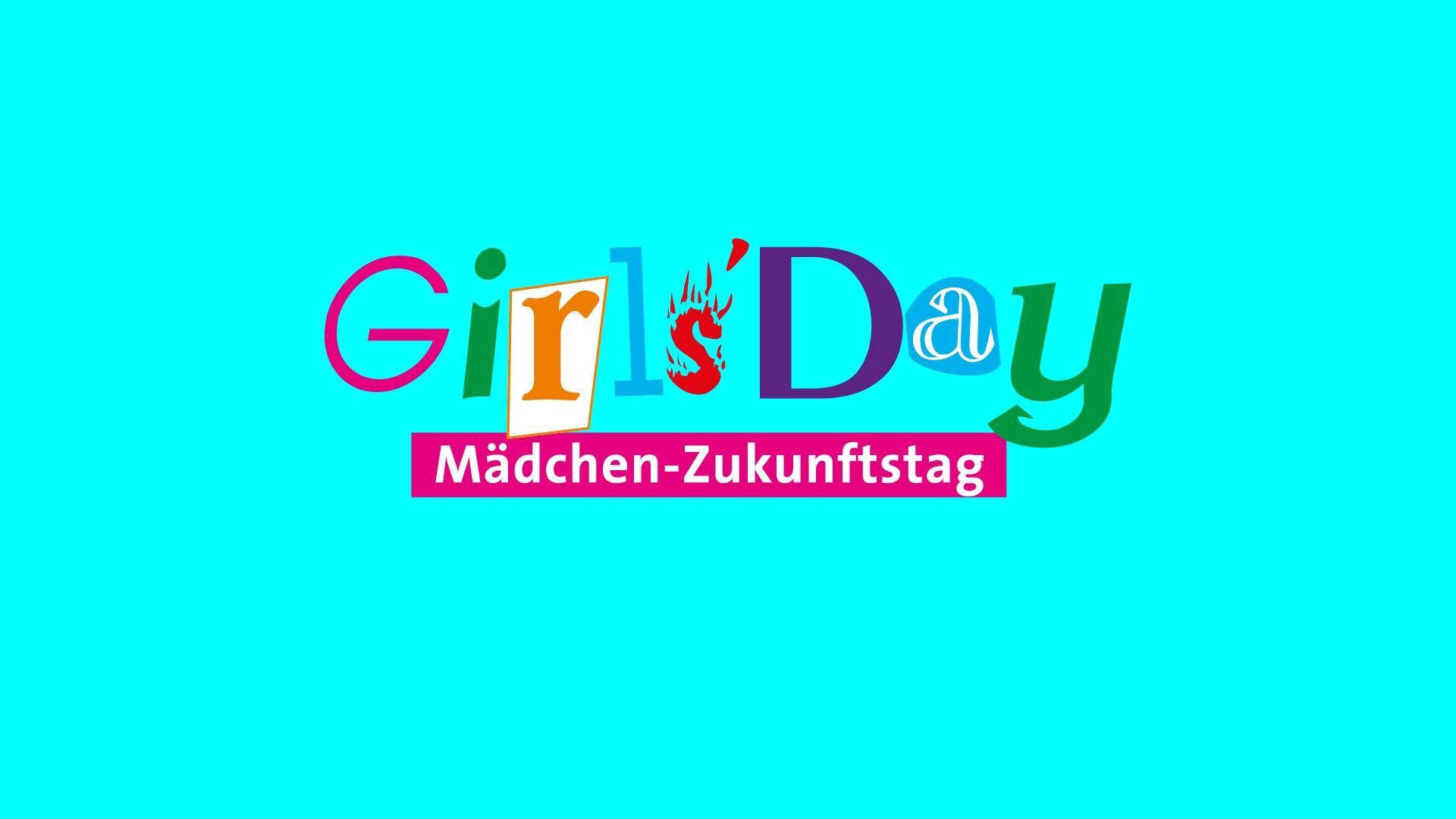 GirlsDay Logo auf cyanfarbenem Grund