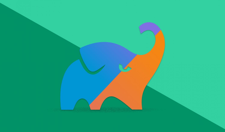 the Gradle Kotlin Elephant in Kotlin colors blue, violet and orange