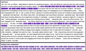 A text with highlighted words for the summarization.