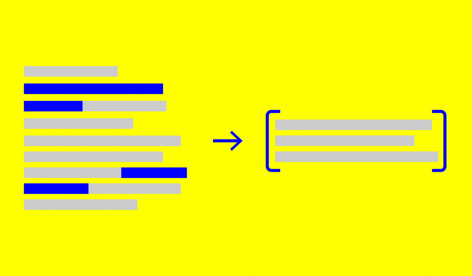 Stylized highlighted text being summarized in a bracket.