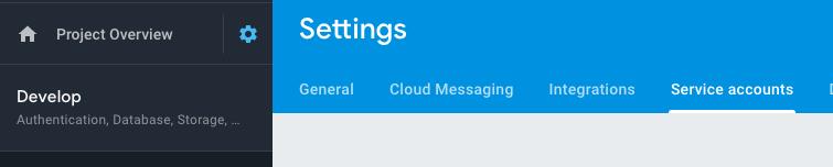Firebase service accounts settings