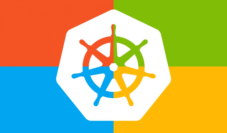 The Kubernetes Logo on the Windows flag