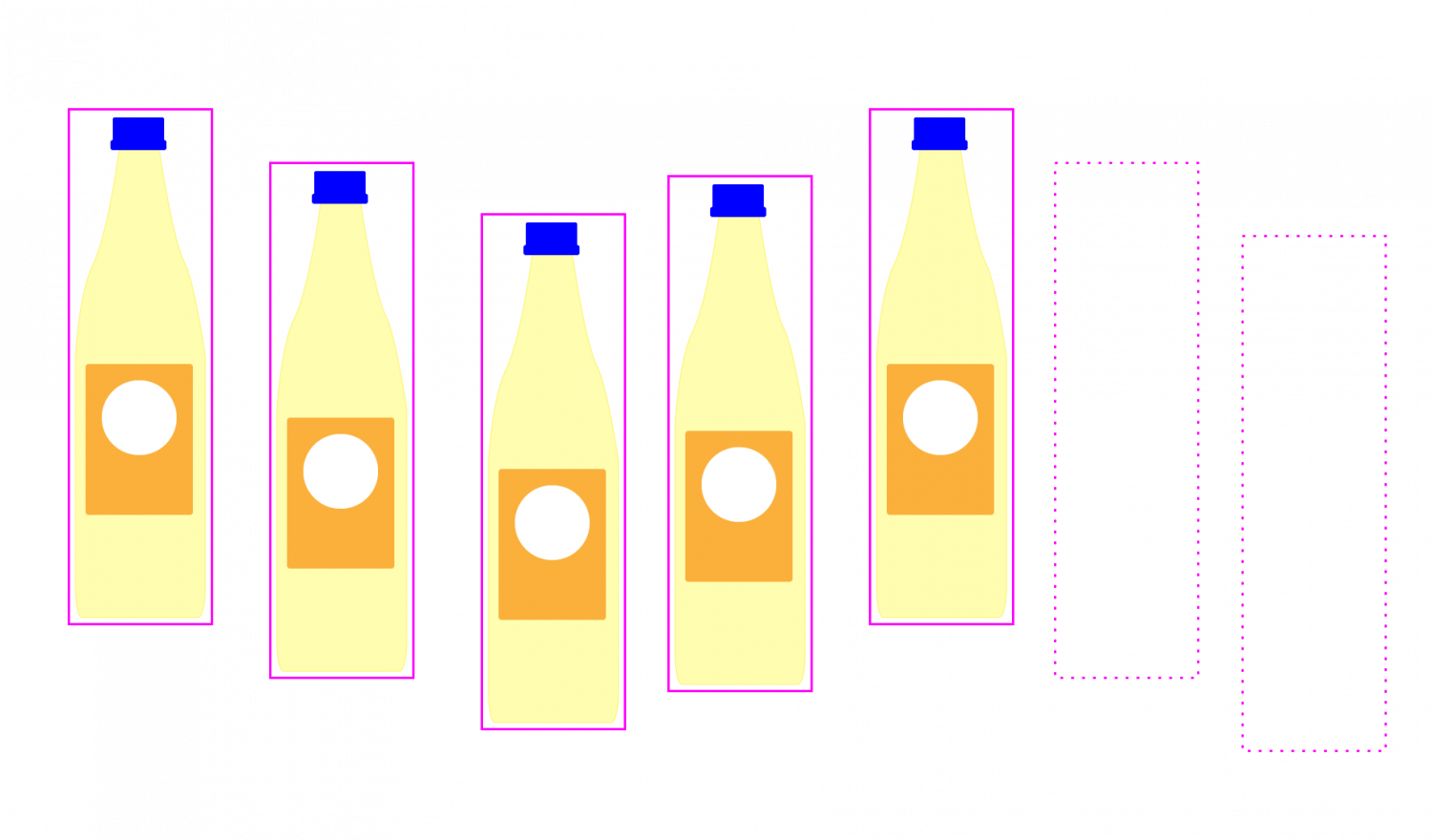 A bottle with an detection outline moving from left to right