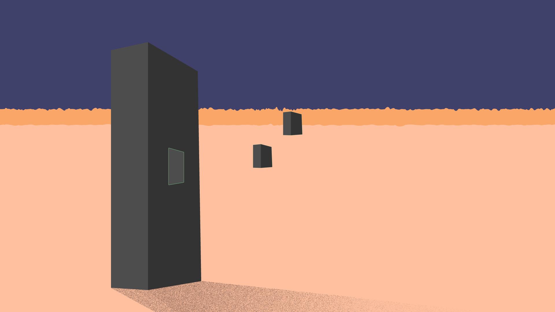 A monolith being broken up