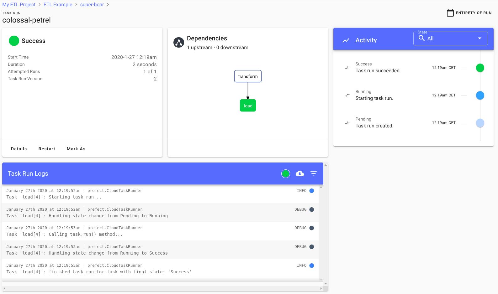 Prefect task run dashboard screenshot